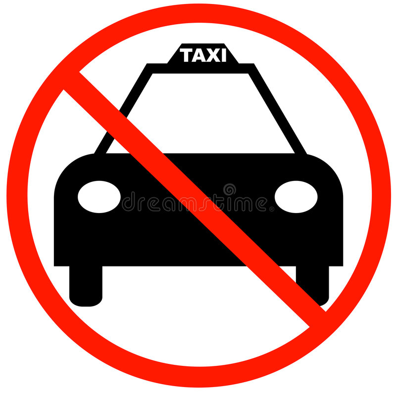 No taxi cabs allowed. Taxi cab with red not allowed symbol - no taxi parking stock illustration