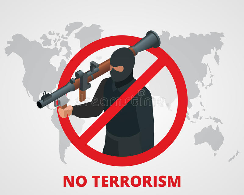 download no terrorism stop terror sign anti terrorism campaign badge on world map flat
