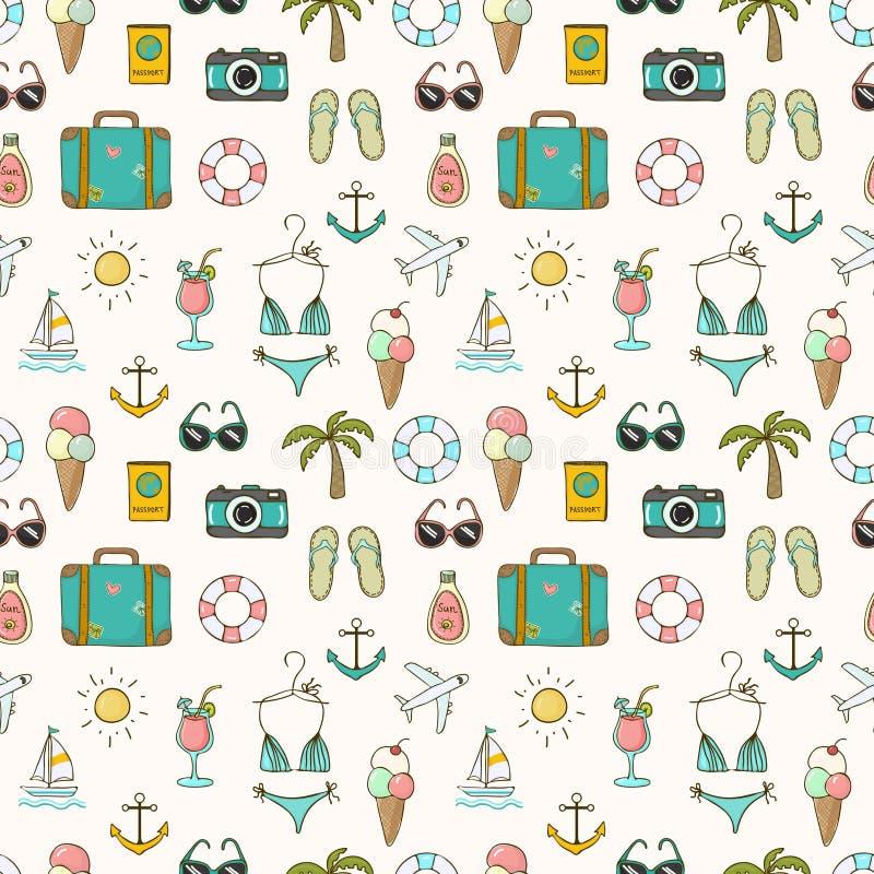No teste padrão sem emenda do verão das férias ilustração royalty free