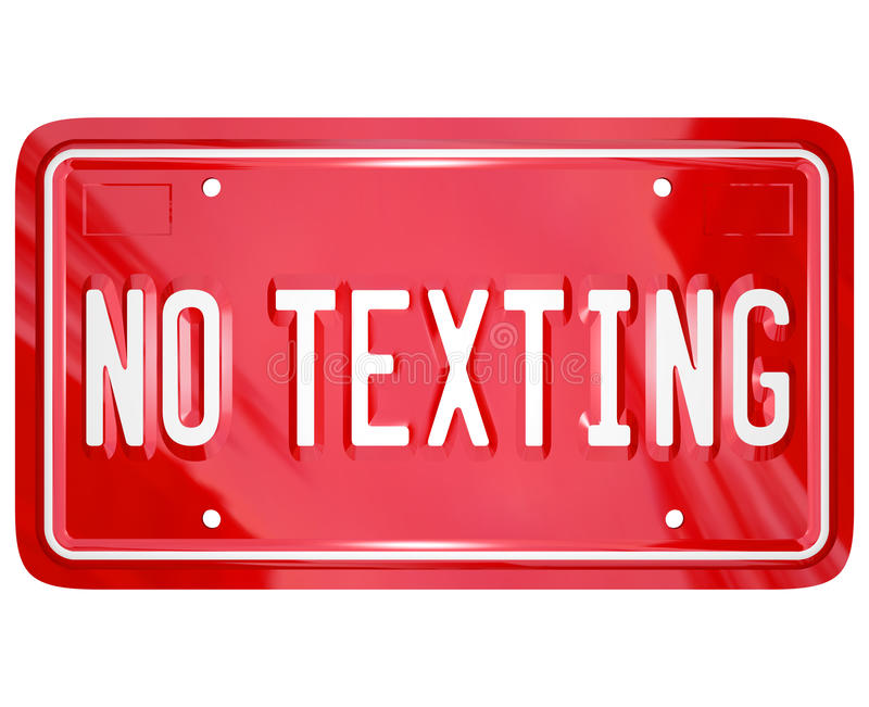 No Texting License Plate Warning Danger Text Message. A red vanity license plate with the words No Texting to illustrate a warning about the dangers of text vector illustration