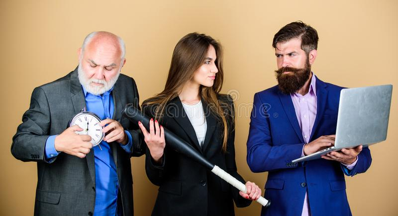 No time to wait. digital sport. businesspeople. dream team. bearded man with laptop and alarm clock. mature men and sexy stock image