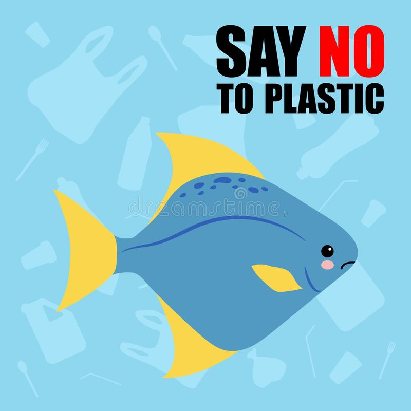 No to plastic. Stop ocean plastic pollution. Cute sad fish. Recycling plastic. Ecological problem and catastrophe. Say no to vector illustration