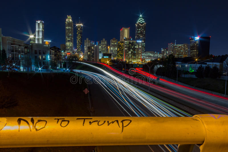 No to Trump with view of Atlanta, GA stock images