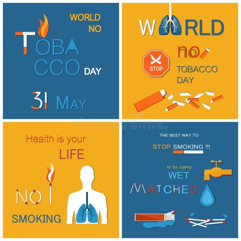 No Tobacco Day Health is Your Life Not Smoking. Best way to stop harmful habit is to carry wet matches. Posters dedicated to refuse from nicotine usage vector royalty free illustration