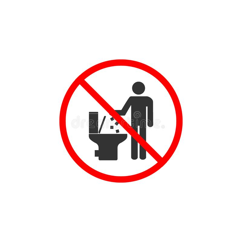 No toilet icon, No littering in toilet sign. Vector illustration, flat design. vector illustration