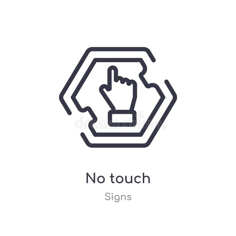 no touch outline icon. isolated line vector illustration from signs collection. editable thin stroke no touch icon on white royalty free illustration