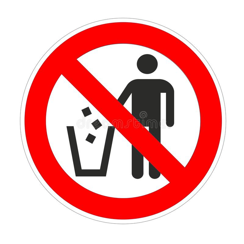 No trash around forbidden sign, red prohibition symbol royalty free illustration