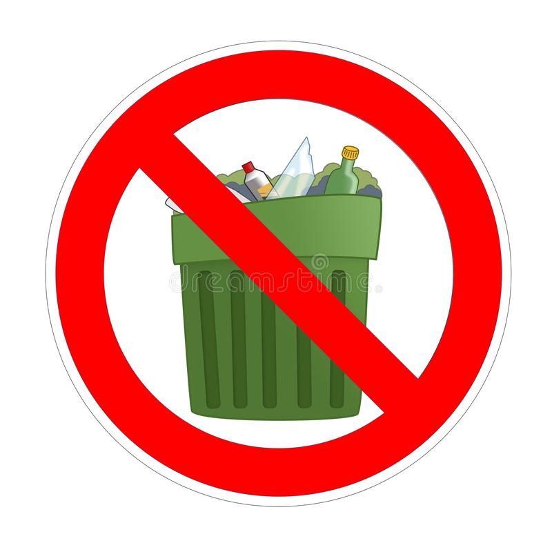 No trash can forbidden sign, red prohibition symbol vector illustration