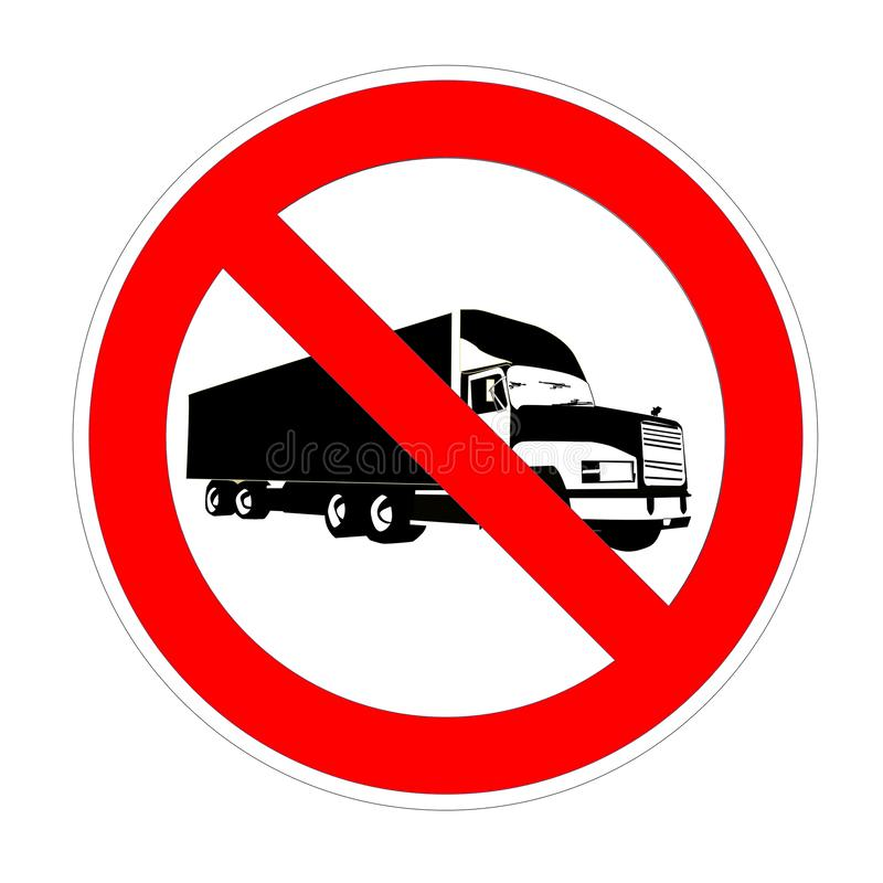 No truck forbidden sign, red prohibition symbol royalty free illustration