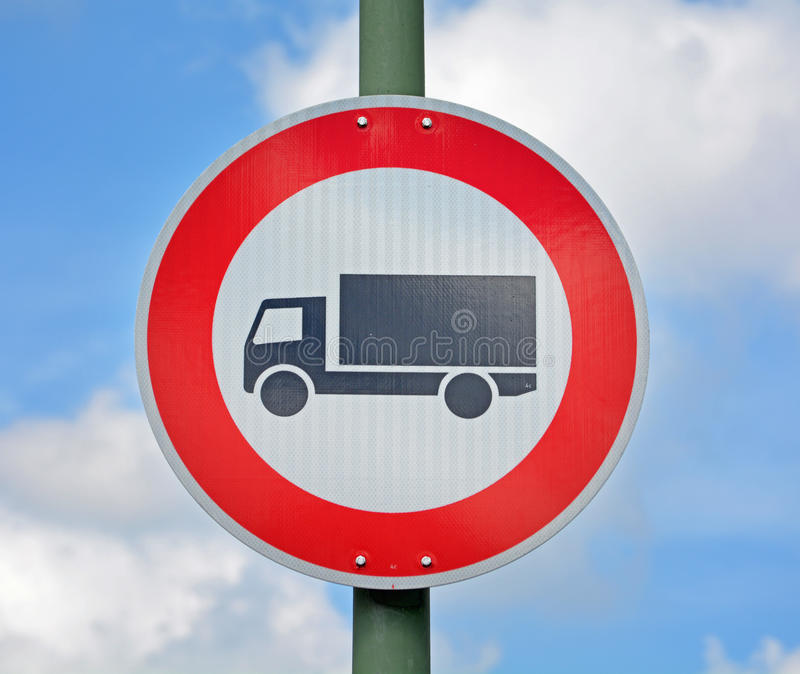No Trucks Allowed. Road sign stock photography