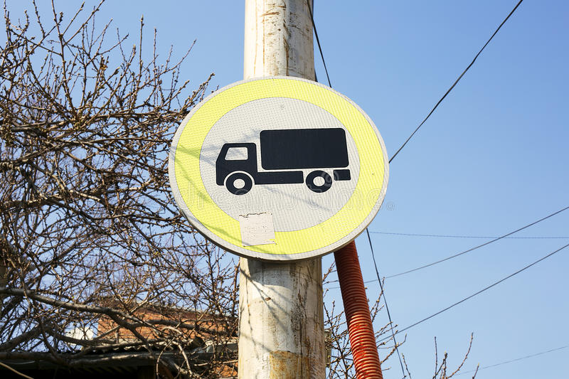 No trucks allowed road sign on the street stock image
