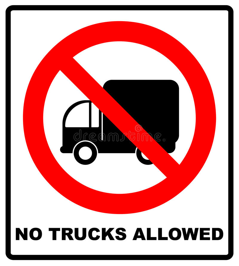 No Trucks Allowed sign isolated against a white background vector illustration