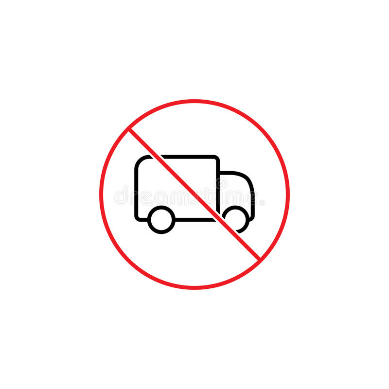 No trucks prohibition sign on white background vector illustration