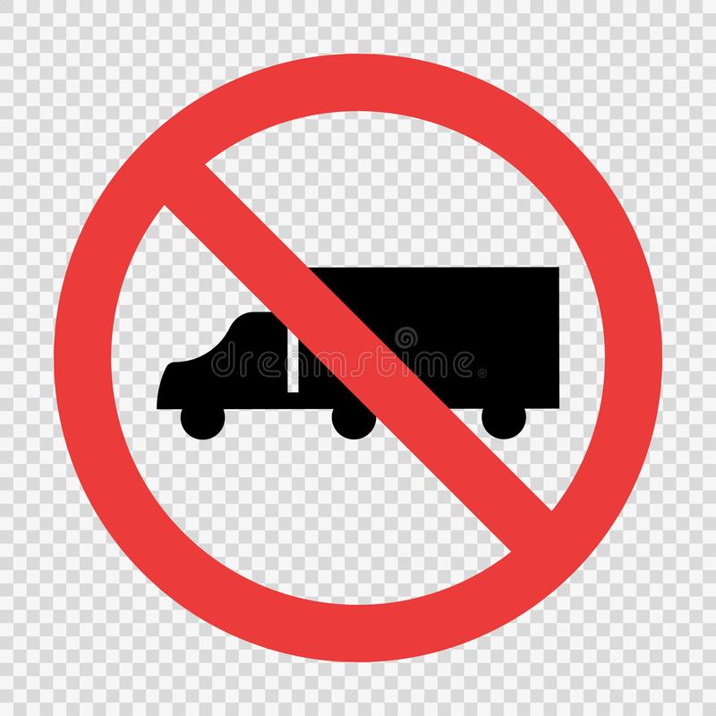 No Trucks Sign on transparent background stock illustration