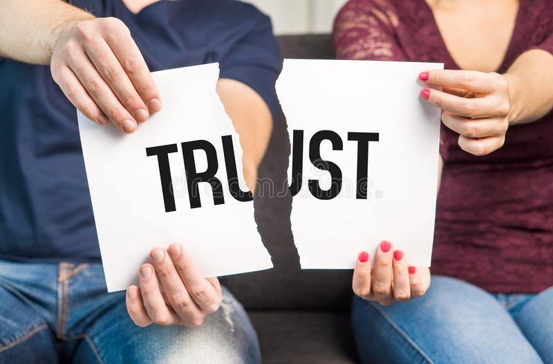 No trust. Cheating, infidelity, marital problems. stock photos