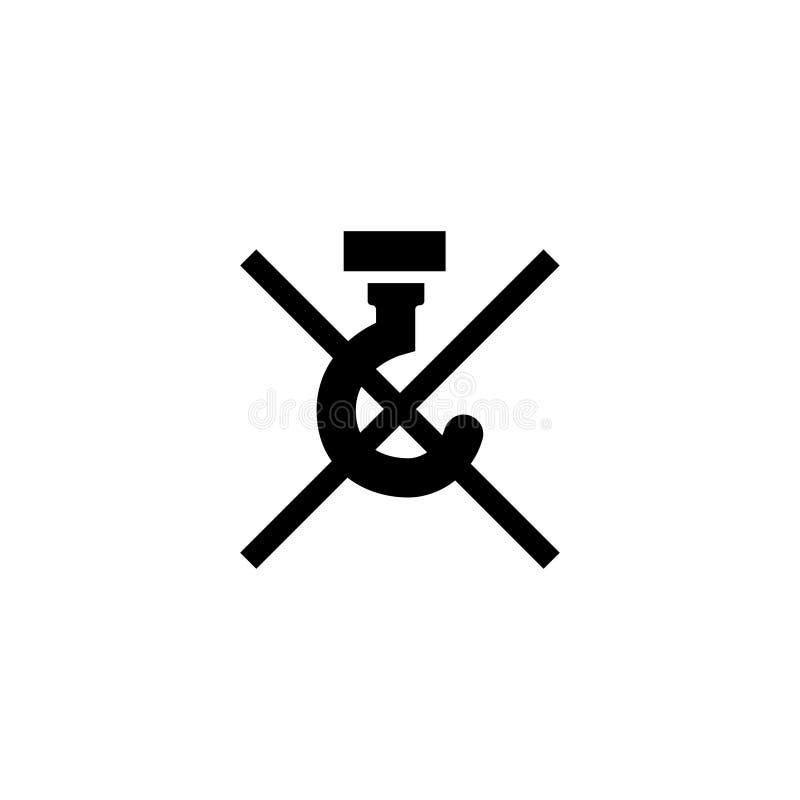 NO UŻYWA haczyków - PAKOWAĆ Płaską Wektorową ikonę ilustracji