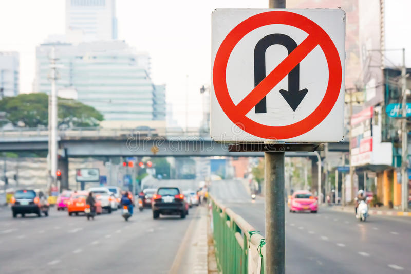 No U-Turn traffic sign stock images
