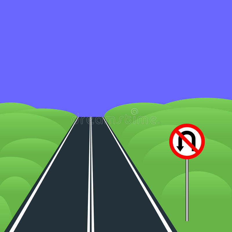 No U-turns. Road sign No U-turns standing by the road royalty free illustration