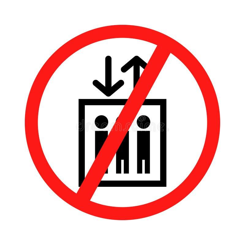 No utilice la muestra del elevador No utilice la elevación, muestra con hacia arriba y hacia abajo las flechas, ejemplo aislado d stock de ilustración