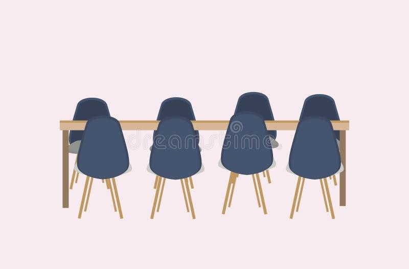 No vacie ninguna mesa redonda de la conferencia de la gente rodeada por los muebles de oficinas modernos de las sillas completame ilustración del vector