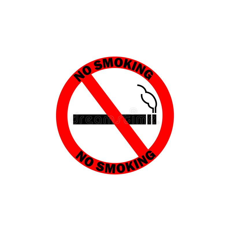 NO VAPING ALLOWED sign. Flat icon in red circle stock illustration