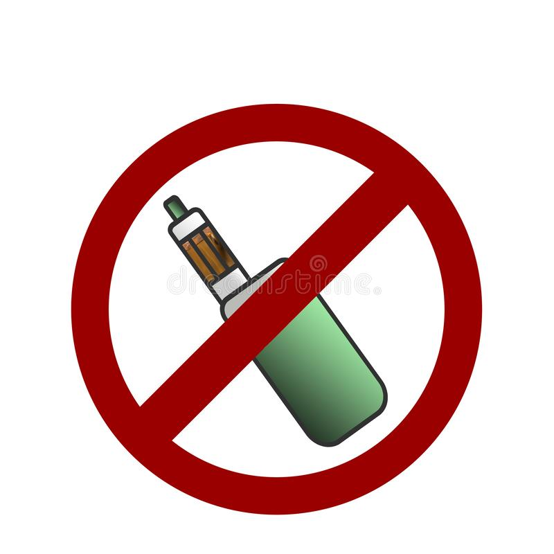 No vaping area notification sign. No vaping area notification. No electronic cigarettes sign stock illustration