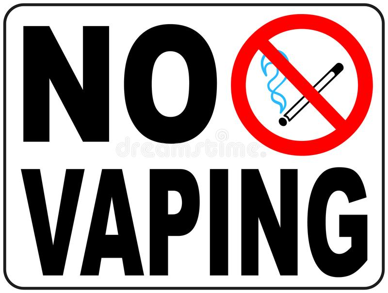 No vaping sign. Do not smoke electronic cigarette symbol. Vector illustration isolated on white. Warning forbidden red icon for pu royalty free illustration