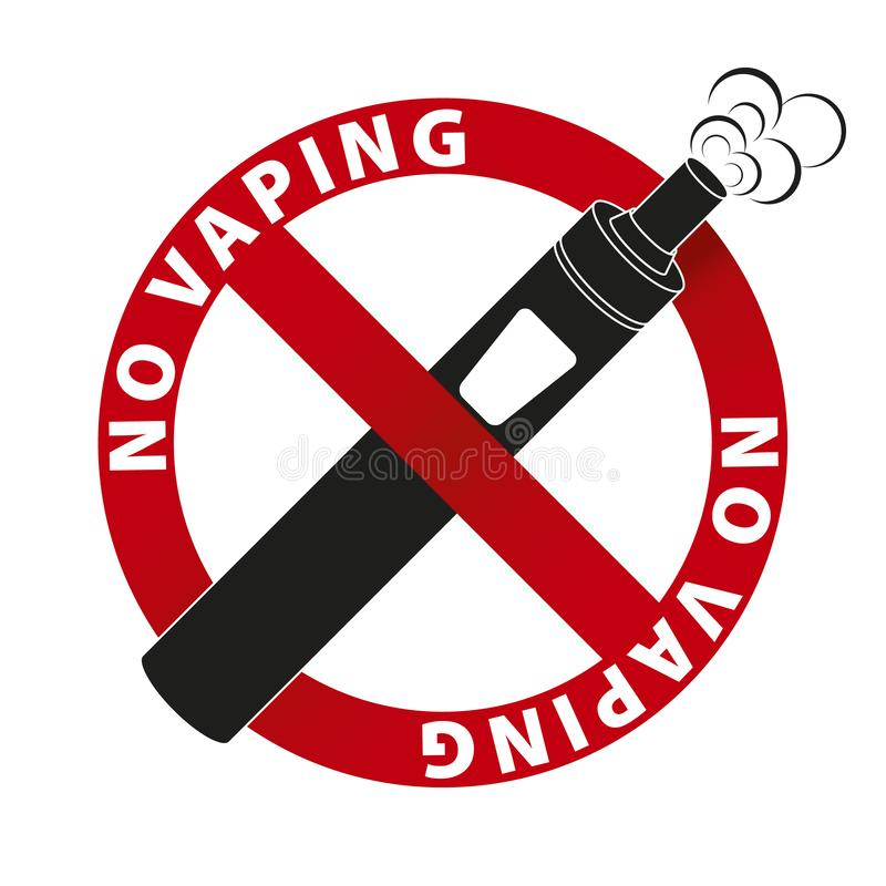 No Vaping sign and text on white background stock illustration