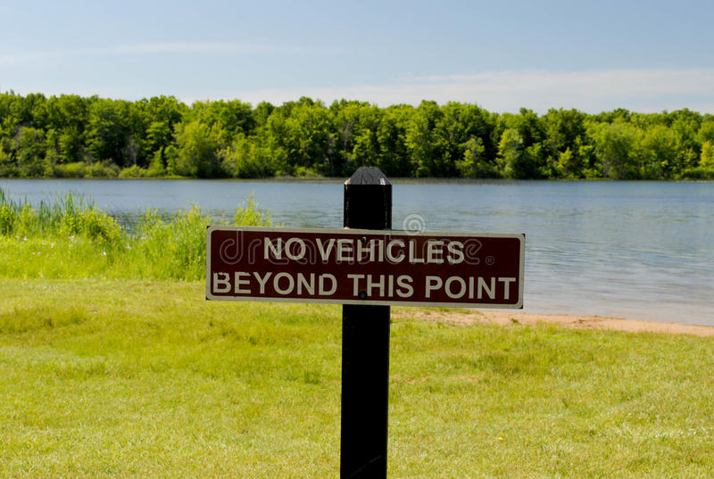 Download No Vehicles Beyond This Point Stock Photo - Image of wooden, tree: 42658332