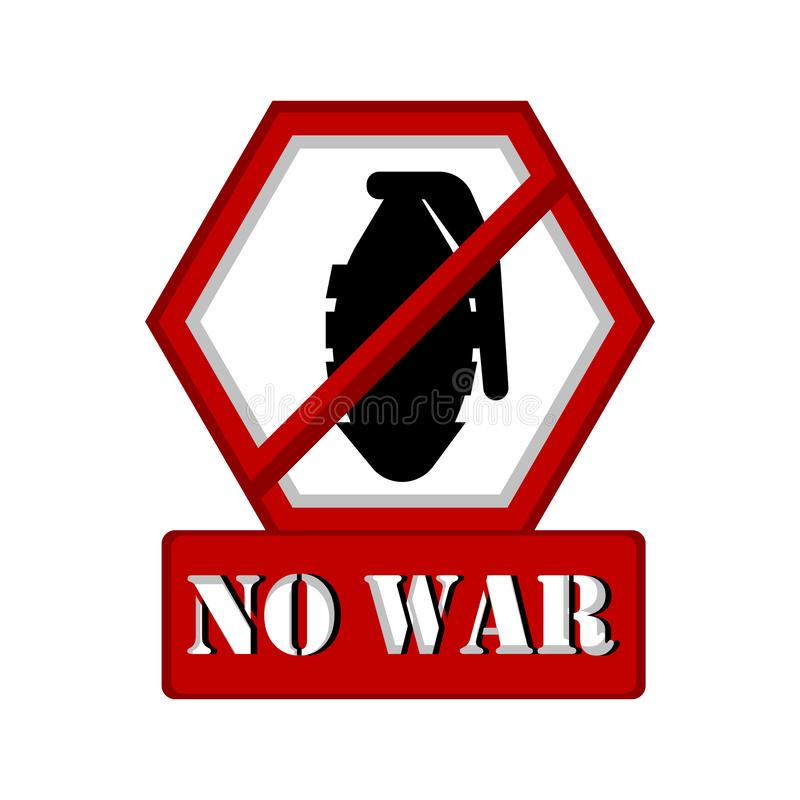 No war banner with a grenade prohibition. Vector illustration design royalty free illustration
