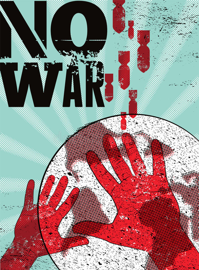 No war. Typographic retro grunge peace poster. Vector illustration. stock illustration