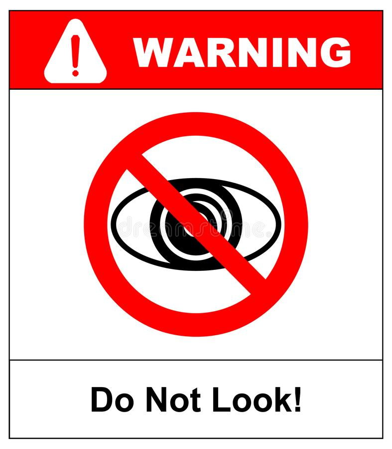 No watching sign. Do not look at, do not observe, prohibition sign, illustration. No watching sign. Do not look at, do not observe, prohibition sign isolated on stock illustration