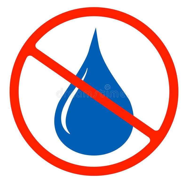 No water resistant, no waterproof or do not drink with drop warning signs flat symbols prohibition. Icon illustration isolated on white background.Forbidden stock illustration