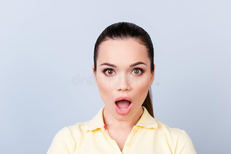 No way! Close up portrait of amazed young freelancer brunette la royalty free stock photography