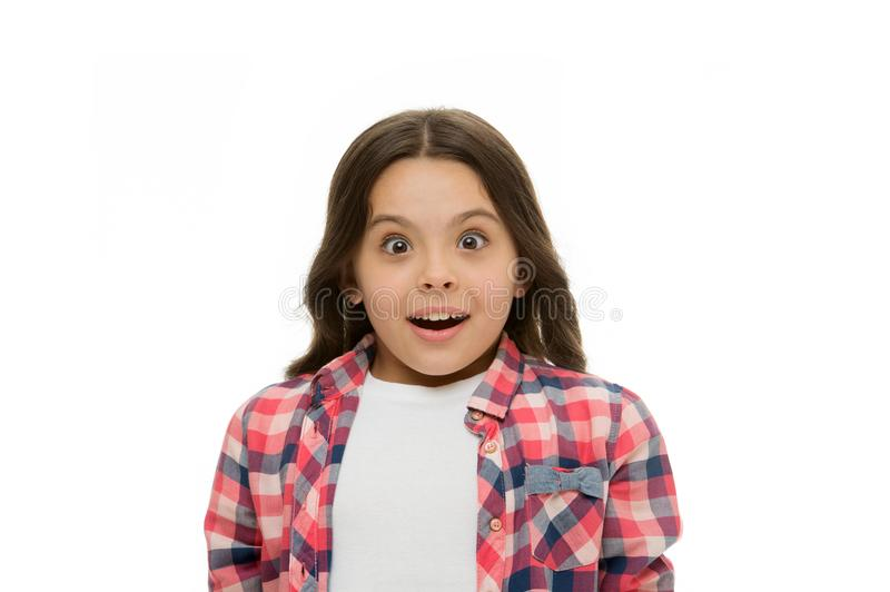 No way. Kid stunned overwhelmed emotion can not believe her eyes. Child surprised shocked face white background stock images