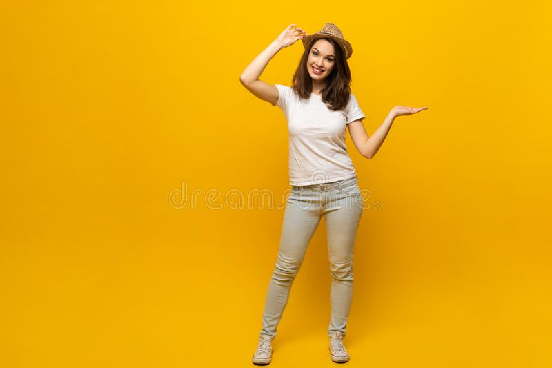 No way, look this ! Woman pointing finger at copy space. Expression emotion and feelings concept. Studio shot, isolated royalty free stock photos