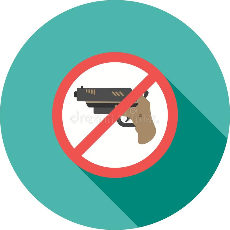 No Weapons. No, pistol, guns icon vector image. Can also be used for warning caution. Suitable for use on web apps, mobile apps and print media royalty free illustration