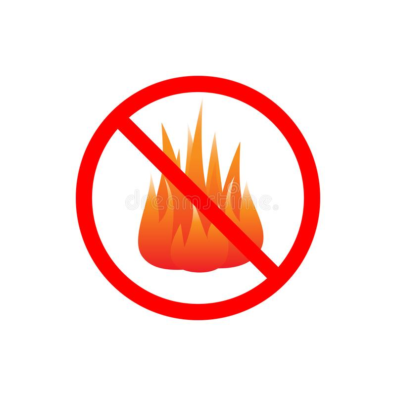 No fires sign vector isolated. On white background stock illustration