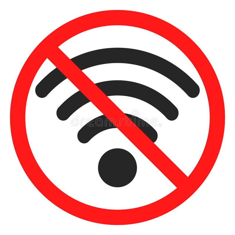 Fun no wifi icon sign. No wifi icon sign stock illustration