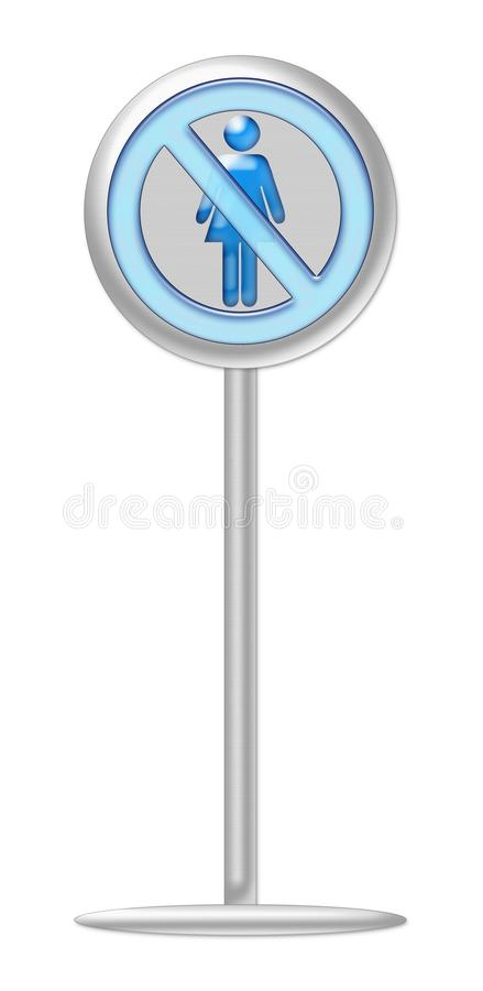 No woman sign blue with metallic stand, represent women are not treated fairly in the business and corporate world royalty free stock photography