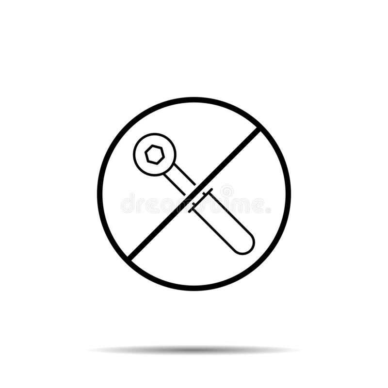 No wrench, carpenter icon. Simple thin line, outline vector of construction tools ban, prohibition, forbiddance icons for ui and. Ux, website or mobile stock illustration