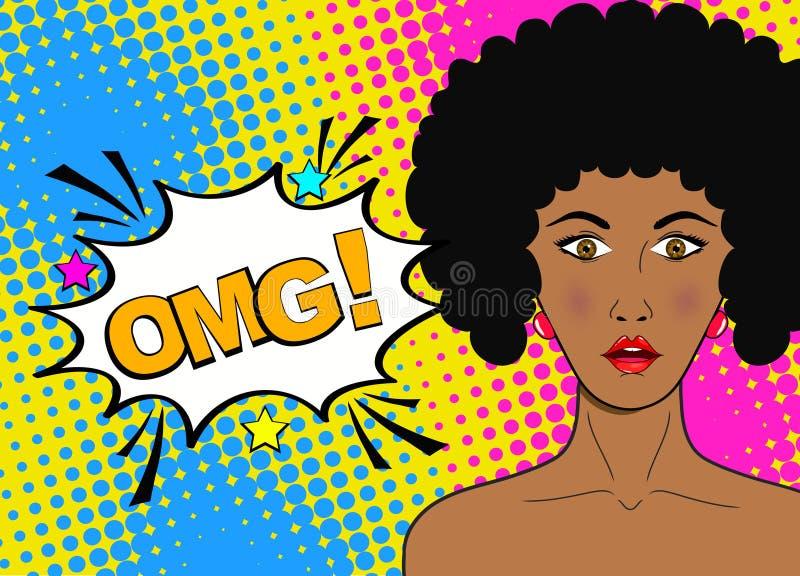 No! no! wystrzału sztuki żeńska twarz Seksowna zdziwiona młoda afrykańska kobieta z royalty ilustracja
