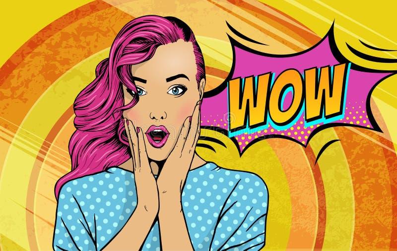 No! no! wystrzału sztuki twarz Seksowna zdziwiona kobieta z różowym włosy i otwartym usta z wpisowym no! no! w odbiciu Wektor kol ilustracji