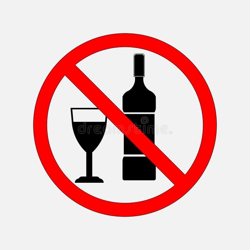 No zabraniać znaków jedzenie i alkohol, żadny alkohol, żadny alcoh royalty ilustracja