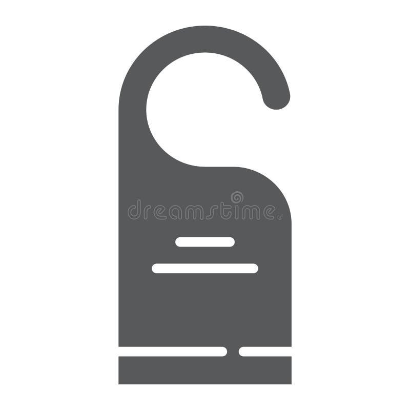 No zakłóca glif ikony, etykietki i hotelu, drzwiowego wieszaka znak, wektorowe grafika, bryła wzór na białym tle ilustracja wektor