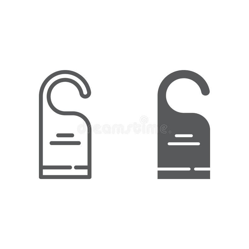 No zakłóca linii, glif ikona, etykietka i hotel, drzwiowego wieszaka znak, wektorowe grafika, liniowy wzór na bielu ilustracji