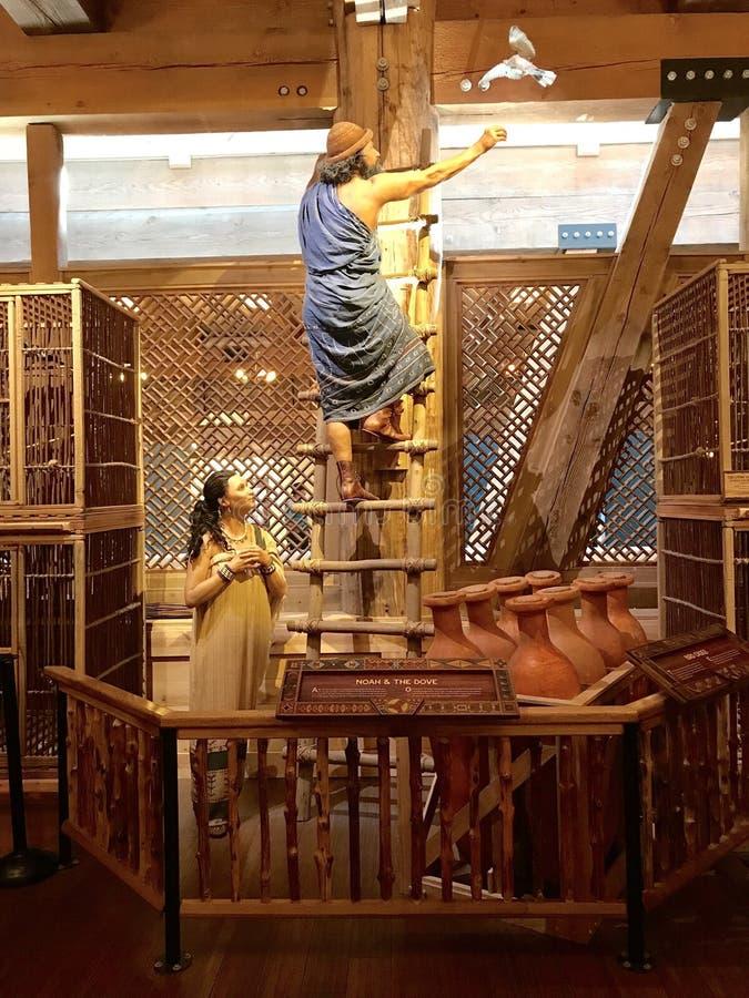 Noah выпуская голубя на ковчеге в тематическом парке встречи ковчега стоковое фото rf