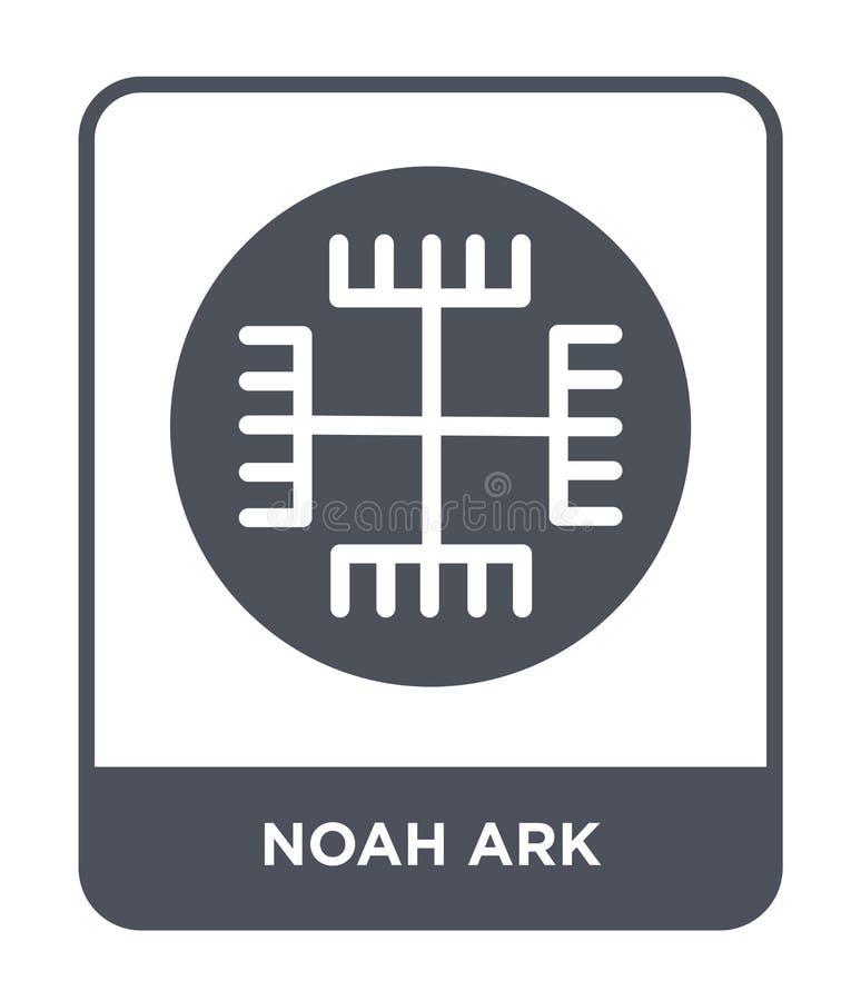 Noah-Archeikone in der modischen Entwurfsart Noah-Archeikone lokalisiert auf weißem Hintergrund einfache und moderne Ebene der No lizenzfreie abbildung