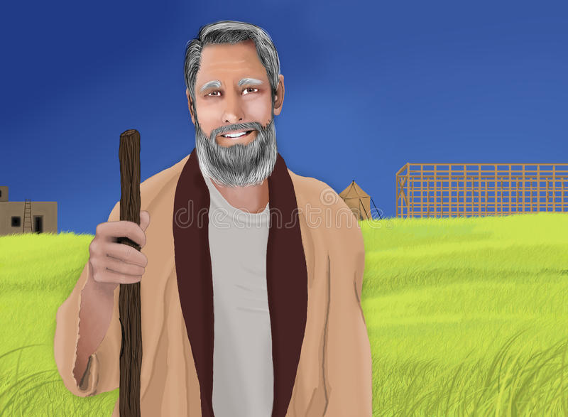 Noah and the Ark. An illustration of Noah and the ark royalty free illustration