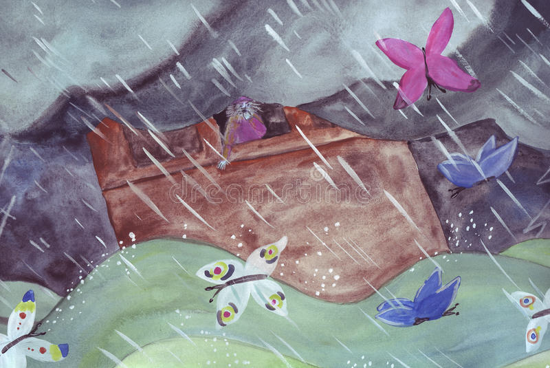 Noah on Ark. Noah calls the butterflies that have fallen behind during the Flood royalty free illustration